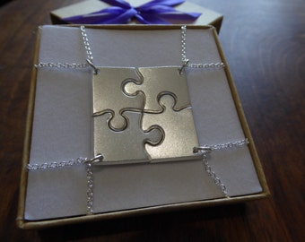 Four Corner Puzzle, Silver Pendant Necklaces, Satin