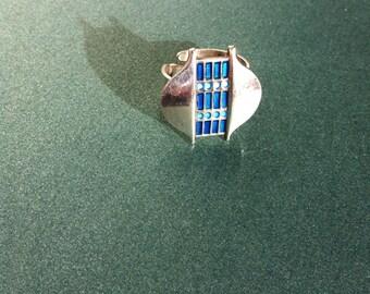 Mid Century DAVID ANDERSEN Ring, Modernist, Norway, Sterling Silver, Blue Enamel, Silver Series, 1960's, Adjustable Ring, Scandinavian