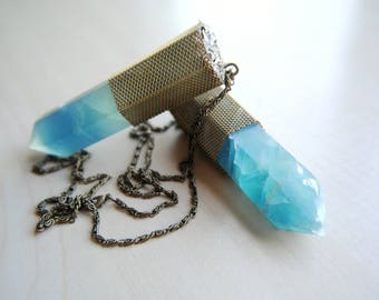 BLUE FLUORITE & Pyrite Necklace -- Crystal Dreams Collection -- Fluorite Necklace -- Boho Chic -- Handmade Jewelry -- Healing Crystal