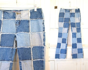 Vintage 90s patchwork denim low rise women's frayed Zana di jeans grunge size 11 M or L juniors medium or large