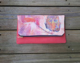 handmade- gift- custom- anniversary gift- acrylic painting- summer clutch 2017- spring clutch 2017- small clutch 2017- floral painting- navy