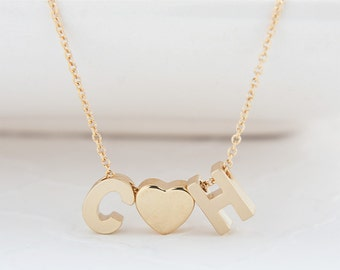 Gold Initial Heart Necklace - Gold Heart Charm Necklace - Gold Uppercase Initial Jewelry - Couples Initial Heart Jewelry - Layering Necklace