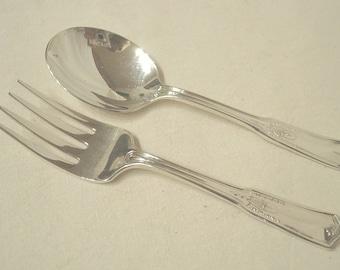 Sterling Silver Childs Baby Fork Spoon Set Flower Basket Pattern .925 International