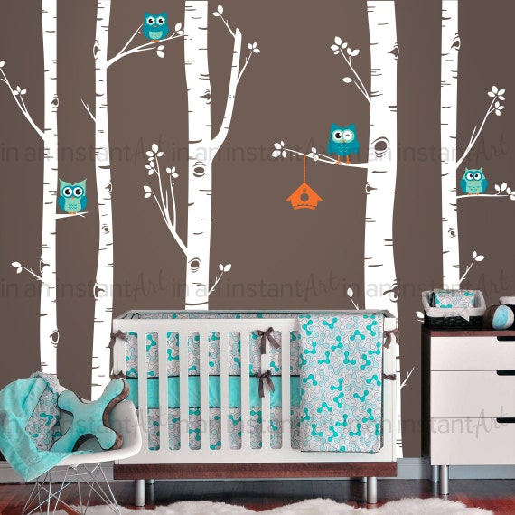 Birch Tree and Owl Wall Decal by InAnInstantArt