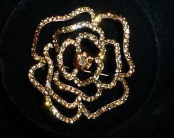 "Vintage Topaz Swarovski Crystal Large ""Flower"" Brooch / Pendant, Ca. Late 1980"