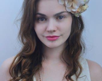 Ivory and Peach Bridal Flower Hair Clip | Bridal Headpiece | Floral Headpiece | Bridal Hair Clip | Flower Headpiece | Peony Hair Clip