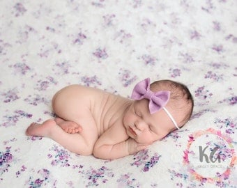 Baby Girl Headbands, Felt Baby Bow, Lavender Bow Headband, Baby Hair Bow, Newborn Baby Headbands, Infant Toddler, Felt Headband, Newborn