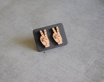 Peace Hand Stud Earrings : Cute Hipster Wood Posts
