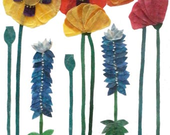 Batik Fabric Collage Art Poppies with Bluebonnets