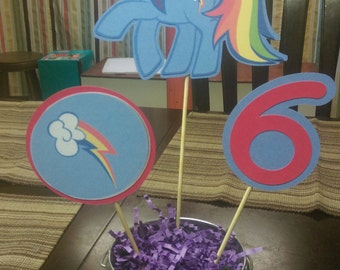 Rainbow Dash Centerpiece, My Little Pony Centerpiece with Number for Birthday Parties