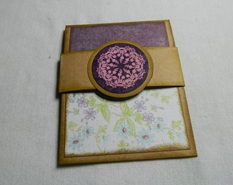 Gift Card Holder in Kraft card stock with pinks/purples