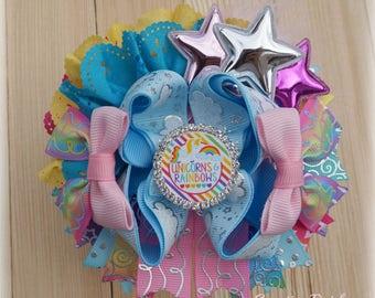 Unicorn Hair Bow, Unicorn Party, Unicorn Birthday Bow, Unicorn Gift, Over the Top Hair Bows