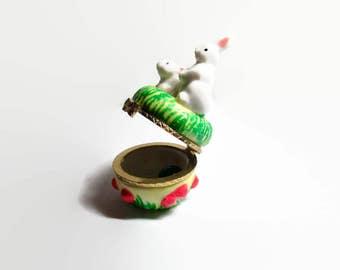 Bunny Trinket Box Porcelain Pill Ring Hinged Holder 1970s