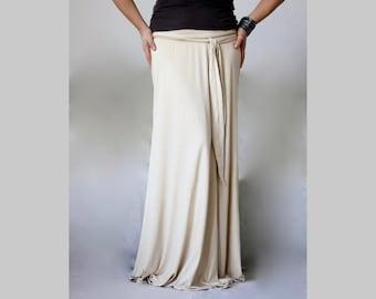 Long Jersey Skirt  Champagne Maxi Jersey Skirt A Line Maxi Jersey Skirt Made to Measure Maxi Skirt Loose Maxi Skirt Featuring Belt