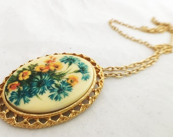 Necklace - Floral Pendant Long Hanging Statement Drop Necklace
