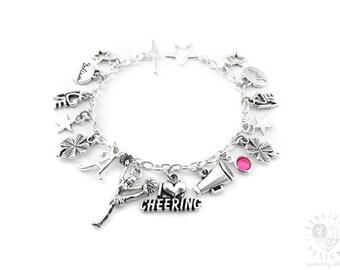 Cheer Bracelet, Cheer Charm Bracelet, Cheer Gifts, Cheerleading Gifts, Cheerleading Bracelet, Cheerleader Gifts, Cheer Jewelry