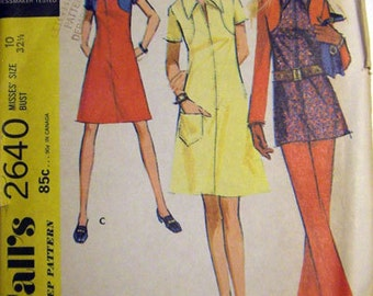 70s Dress or Top & Pants Pattern McCalls 2640 Size 16 Uncut