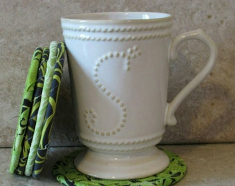 Clothesline Coasters, Coasters, Coiled Coasters, Scrappy Coasters,  Fabric coasters, Set of 5, green, lime green, charcoal