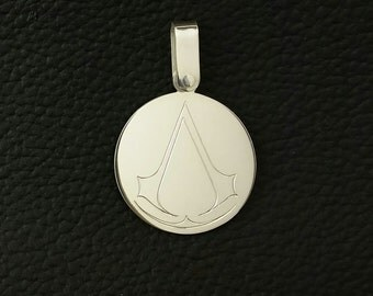 Assassin's Creed Necklace Pendant, hand engraved in sterling silver