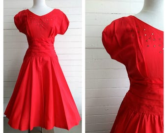 Vintage 1950s red satin party dress small