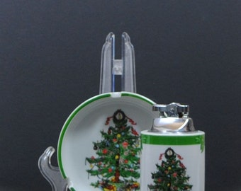 Vintage Christmas Ashtray and Matching Lighter, by YuleTide, Christmas Tree & Holiday Presents, White Porcelain, Tobacco, Cigarette, Cigar