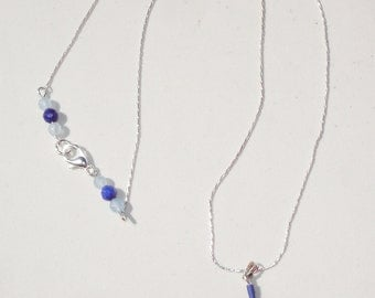 Sterling Silver Pentagram Gemstone Necklace - Genuine Ancient Lapis Beads