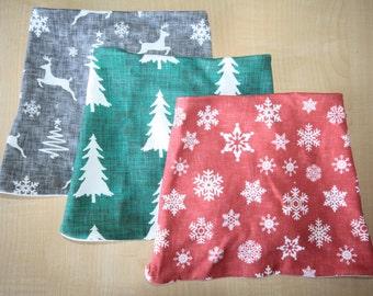 SALE - Organic Cotton Baby Scarf Bib Set, Baby Christmas Bandana Bib, Bandana Bib, Drool Bib, Grey Reindeer Scarf Bib, Baby Shower Gift