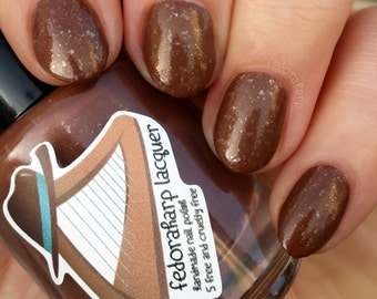 Cocoa and Marshmallows (mini size & full size)- Chocolate brown crelly flakie indie polish by Fedoraharp Lacquer