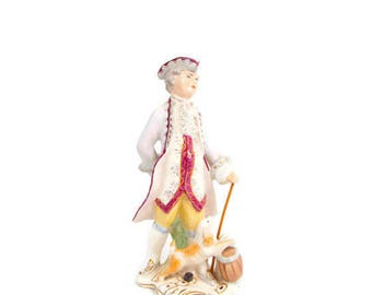 Vintage Wedgwood THE RAKE 131 Made in England Hand Painted Colonial Figurine Man and dog Stechers Jewelers Trinidad