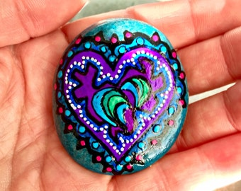 love warrior / painted rocks / painted stones / rock heart / heart rocks / heart stones / tribal art / hearts on rock / paperweights