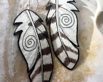Female Snowy Owl Feather Earrings