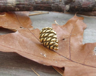 Gold Pine Cone Lapel Pin
