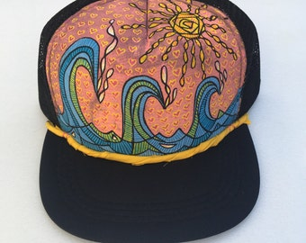 Islander Girl - Trucker Hat - Hand Painted - by Roupolimama