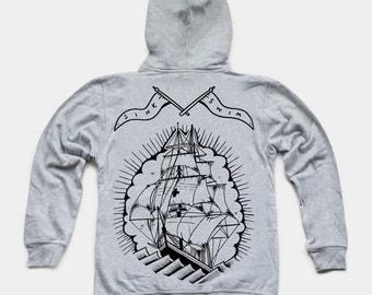 Ghost Ship Grey Zip Hoody by Art Disco