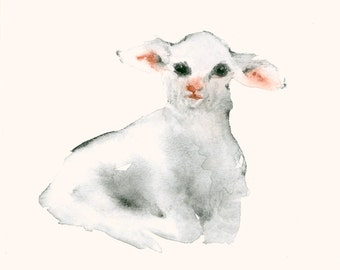 Lamb Original Watercolor Painting