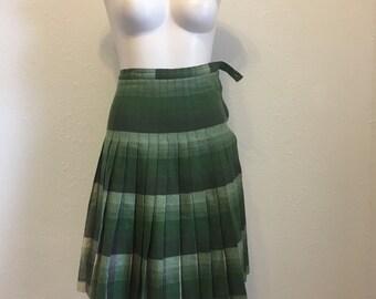 Vintage Skirt, Green Wool Skirt, Reversible Skirt, Pleated Wool Skirt, High Waist Skirt