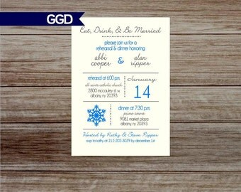 Winter Rehearsal Dinner Invitation, Christmas rehearsal dinner invite, rehearsal & dinner, wedding rehearsal dinner, snowflake invitation