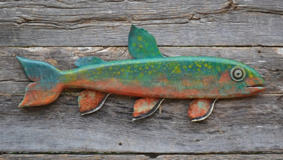 Brook Trout Reclaimed Barn Wood Fish Folk Art Cabin Cottage Wall Hanging
