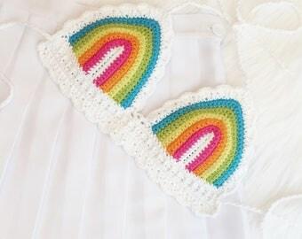 NEW COLORS - Rainbow Bralette - Black or White Trim - Cotton Crochet Festival Top - Handmade Vegan Clothing - Made to Order - Noelebelle