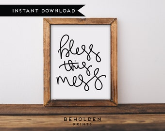 printable bless this mess dorm decor mom print calligraphy print scripture - Dorm Wall Decor