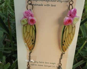fairie fairy wings and roses earrings
