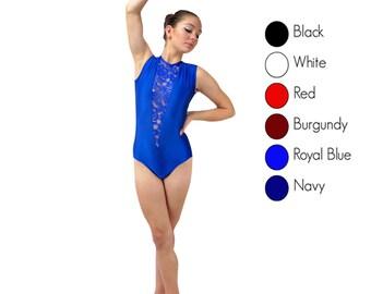 Deep V lace leotard - multiple colors - lace leotard - open back acro bodysuit