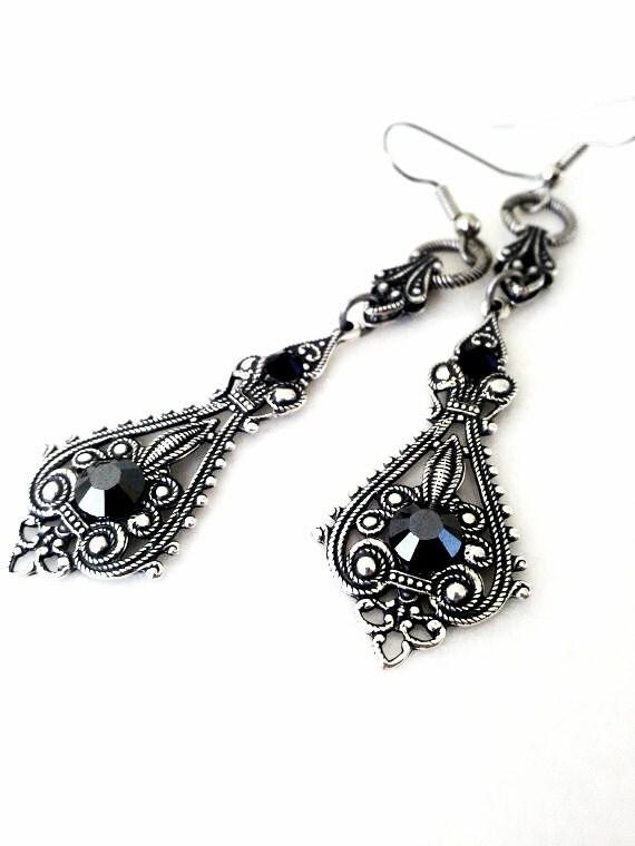 Victorian Gothic Silver Earrings Black Swarovski Crystal Earrings Goth Bridal Filigree Earrings Gothic Jewelry Victorian Jewelry