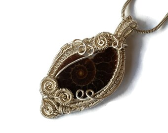 Intricate Ammonite Fossil Necklace with Sterling Silver Wire Work / Sea Shell Wire Wrap Pendant / Natural Gemstone Jewelry