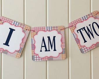 GIRLY PREPPY PLAID First Birthday I Am One Highchair Banner - Party Packs Available