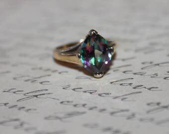 Mystic Topaz & Sterling Silver Solitaire Ring
