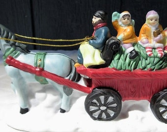 Darling Decorative Hand Painted Ceramic Holiday Caroler Horse Carriage/Holiday Carolers Winter Snow Horse and Carriage/Winter Small Ceramic