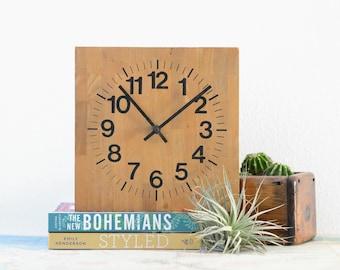 Welby Wood Clock - Mid Century Modern Square Vintage Clock
