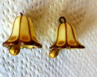 Antique French Art Nouveau Glass Miniature Bells