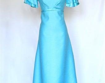 20% OFF SALE 60's Vintage Prom Dress, Aqua BlueDress, Vintage Bridesmaid Dress
